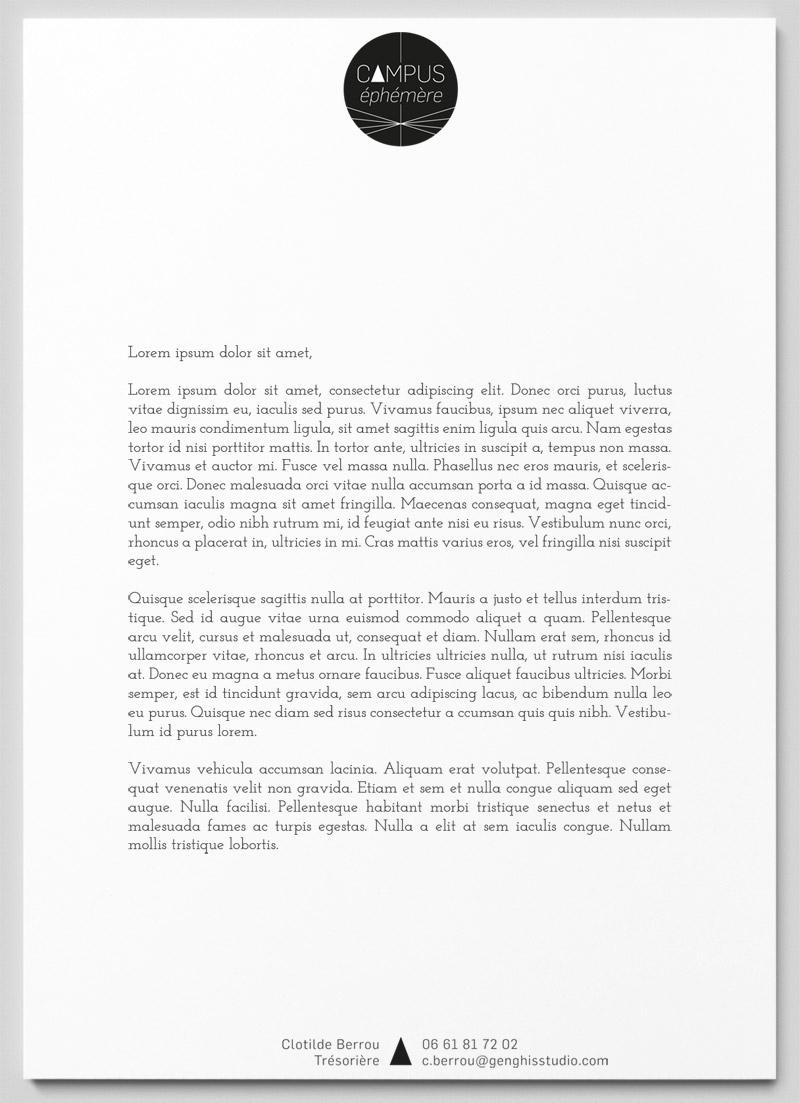 lettre à entête du projet Campus Ephémère
